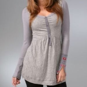 Free People LS Floral Cuff Henley Tunic, NWOT